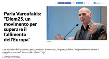 La Repubblica: Diem25, un movimento per superare il fallimento dell'Europa