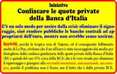 """""""Confischiamo le banche"""" per salvare gli Italiani dalla crisi. Manifestazione nazionale a Roma sabato 18 giugno"""
