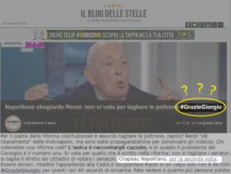 M5s : Grazie Giorgio Napolitano!? Il tag vergognoso fa impazzire la base #graziegiorgio