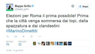 Beppe e il tweet cancellato su Roma sommersa da topi, rifiuti e clandestini