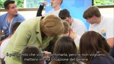 """Merkel risponde ad una giovane palestinese: """"Alcuni devono andare via"""", e lei piange (sottotitoli)"""