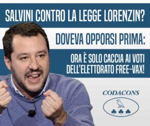 VACCINI, SALVINI: DURE CRITICHE DEL CODACONS ALLA LEGA –