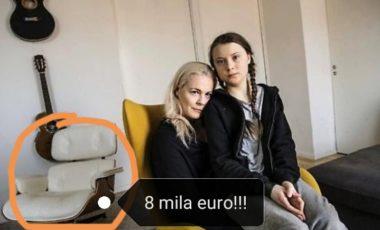 """Greta : una poltrona da 8 mila euro – """"Pazzesco, cosa spunta alle sue spalle"""". Greta Thunberg paladina dell'ambiente? """""""