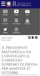 Consiglio Supremo di Difesa convocato dal Presidente Mattarella. martedì 27 ottobre