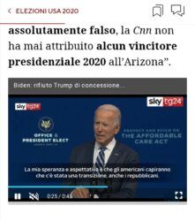 "Ultime News ""La Cnn non da la vittoria a Biden in Arizona""."