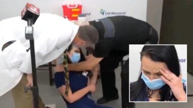 L'infermiera Tiffany Dover è svenuta dopo aver ricevuto un'iniezione di vaccino